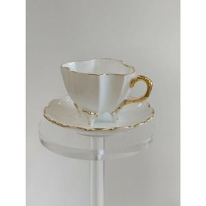 Vintage White, Gold Cup & Saucer Footed Unmarked